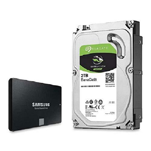 Price comparison product image Pack : 2 TB Seagate ST2000DM008 BarraCuda 3.5 inch SATA 3 Hard Drive + Samsung 860 EVO 500 GB 2.5 inch SSD Set