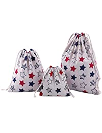 Abaría - 3 unidades bolsa de algodón con cuerdas – Pequeña saco bolsas - Bolsa inserto organizador para bebé ropa juguete pañales - Bolsa de regalo - 25 x 30 cm, 19 x 23 cm, 14 X 16