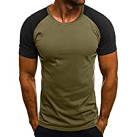 Stylish Men's Camouflage T-Shirts Short Sleeve Color Block Patchwork Pull On Tops (Multi Colors) by PERSOLE