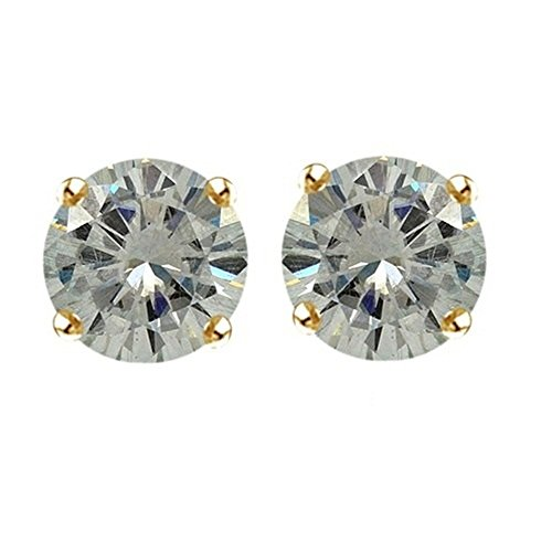 Lilu Jewels taglio brillante rotondo Genuine Moissanite solitario orecchini in argento Sterling 925placcato oro 14K (Taglio Rotondo Moissanite Solitaire)