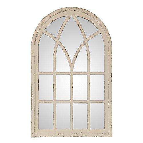 DRW Espejo de Madera de Abeto y DM con Forma de Ventana con en Blanco 60x96x3cm