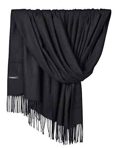 YAOMEI Unisex Mujer Bufanda, 2018 Mujer invierno lujosa ligera y suave Chales Estolas Fulares Bufanda Pañuelo caliente (78.74 * 27.56 pulgadas (200 cm * 70 cm), Negro)