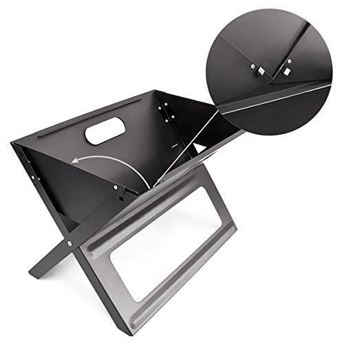 41PyXLXb0sL - Relaxdays Klappgrill, praktisch, tragbar, inkl. Rost und Kohleschale, H x B x T: 30,5 x 30 x 45,5 cm, schwarz