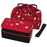 Japanese Traditional Rabbit Blossom Bento Box Set - Square 2 Tier Bento Box, Rice Ball Press, Bento Bag (Red) by Skater