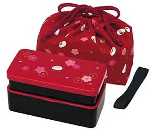 Tier Bento-box (Japanese Traditional Rabbit Blossom Bento Box Set - Square 2 Tier Bento Box, Rice Ball Press, Bento Bag (Red) by Skater)