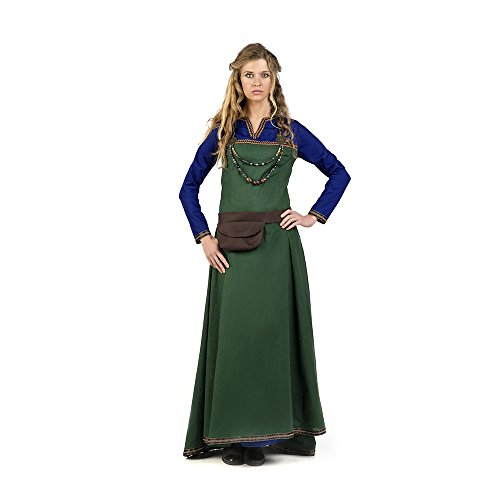 Mittelalter Damen Kostüm Kleid Oria mit Gürteltasche grün blau - (Renaissance Blaue Kleid)