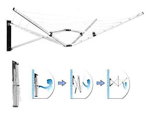 Denny International Rotierender Wäscheständer, freistehend/Wand montiert, 4 und 5Arme, 26m - Freistehender Wäscheständer