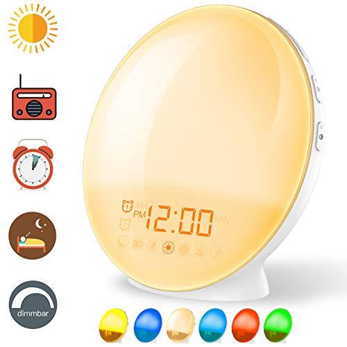 Coulax Wake Up Licht Lichtwecker Tageslichtwecker Wecker mit 20 Helligkeitseinstellungen & 7 natürlichen Sounds & FM Radio & Snooze Funktion Nachtlicht