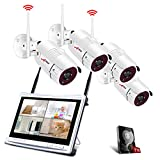 "All-in-1 Wireless Security Camera System with 12"" LCD Monitor, ANRAN 4ch 1080p WiFi"