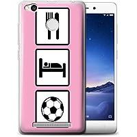 Custodia/Cover/Caso/Cassa Gel/TPU/Prottetiva STUFF4 stampata con il disegno Mangiare/Sonno per Xiaomi Redmi 3S - Calcio/Rosa