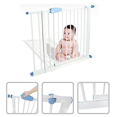 Babyfield - Barrière de sécurité enfant acier 74 à 87 cm - Sécurité escalier, porte et couloir - Ouverture en deux sens - Extensible jusqu'à 88 à 101 cm