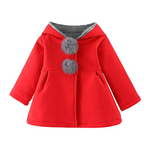 Abrigos Bebé , Amlaiworld Bebés niñas otoño invierno abrigo chaqueta gruesa ropa caliente 0-4 Años (Tamaño:0-9Mes, Rojo)