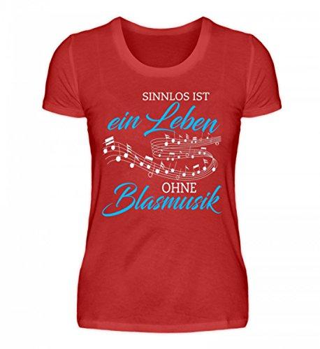 Shirtee Hochwertiges Damenshirt - Blasmusik Shirt · Musikinstrumente · Musikverein-Bekleidung · Geschenkidee für Musiker · Motiv/Spruch Rot