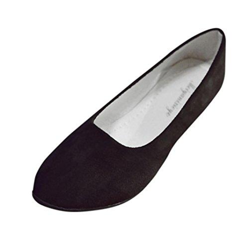 Damen Sandalen, Xinan Sommer Mode Flach Boden Knöchel Sandalen Casual Rutschfest Pointed Toe Schuhe Outdoor Elegant Bequeme Sandalen Hausschuhe Flip Flops Slippers Ballerina Schuhe (EU:38, Schwarz)