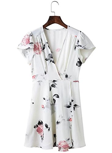 ACHICGIRL Women's V Neck Short Sleeve Floral Printed Fit Flare Dress White