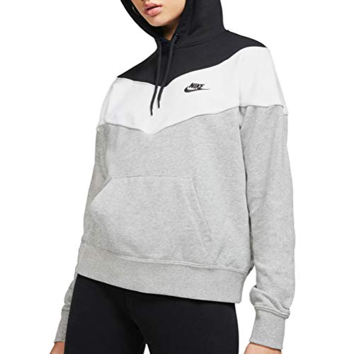 Nike Damen W NSW HRTG Hoodie SB Sweatshirt, dk Grey Heather/Black/White, S