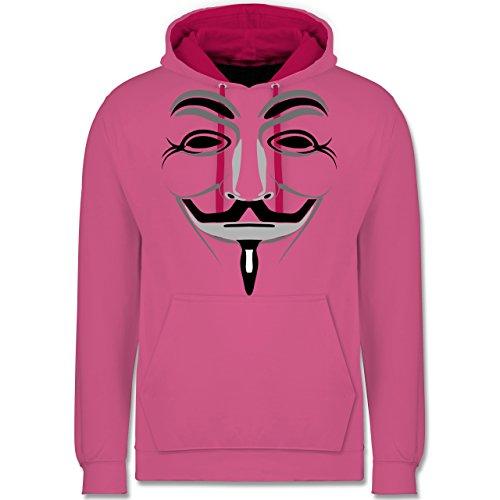 Nerds & Geeks - Anonymous Maske - Kontrast Hoodie Rosa/Fuchsia