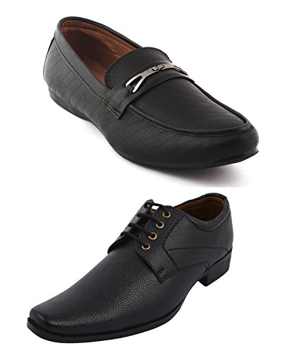 ALESTINO Men's Leather Look Pack of 2 Casual and Formal Shoes 115 (8)