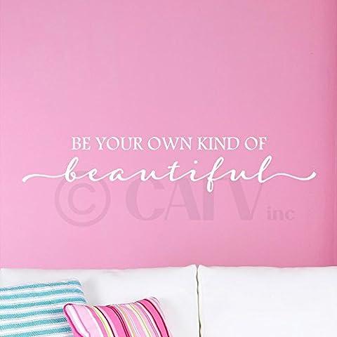 Ser Tu Propio Tipo De Hermosa 5.5H X 20W letras de vinilo para paredes Quotes Art (Egg Shell)