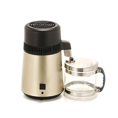 4L Electric dentaire/voyage/Home Eau Distiller Countertop d'eau en acier inoxydable Purifire W/bouteille en verre à la recherche de toujours champagne
