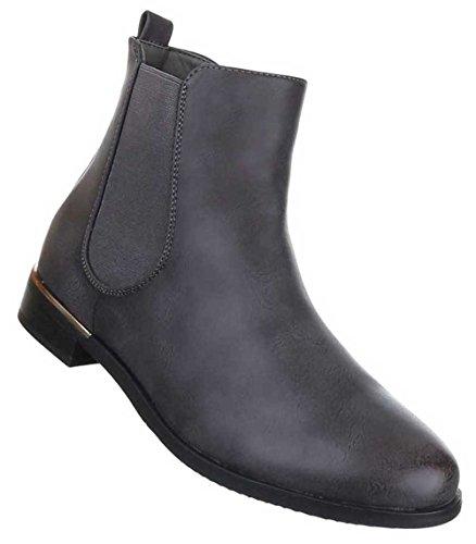 Damen Stiefeletten Schuhe Chelsea Stretch Boots Schwarz Dunkelgrau