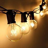 Lichterkette Außen Qomolo Lichterkette Glühbirnen G40 28er Birnen Garten Beleuchtung für Innen und Draußen mit Ersatzbirnen 9.5 Meter Warmweiß