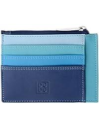 Porta documentos tarjetas en verdadera piel colorada carteras con cremallera DUDU Azul