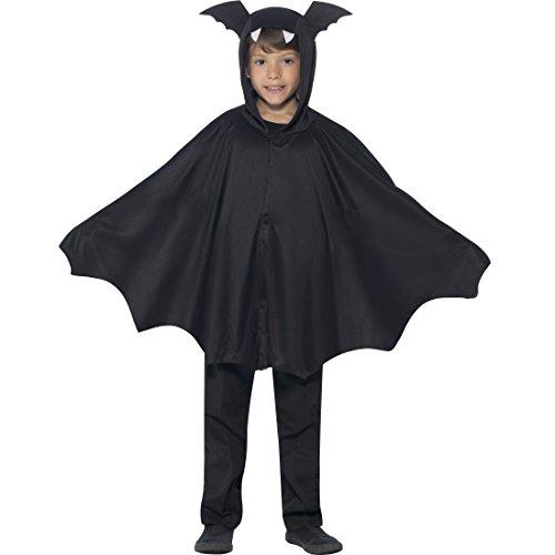 NET TOYS Fledermaus Umhang Kind Bat Cape Kinder Halloween M/L, 7 - 12 Jahre, 130 -158 cm Fledermausflügel Poncho mit Kapuze Vampirumhang Kapuzencape (Niedliche Kleine Mädchen Vampir Kostüm)