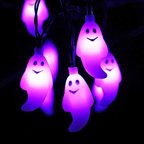 Morado Fantasma Guirnaldas Luminosas - HAYATA 20 LED 2.5m Guirnaldas Luminosas de halloween - luces de batería para Luces de Halloween, Fiesta de Halloween, Decoraciones de Halloween, iluminación de Halloween, Interior, Casa, Dormitorio