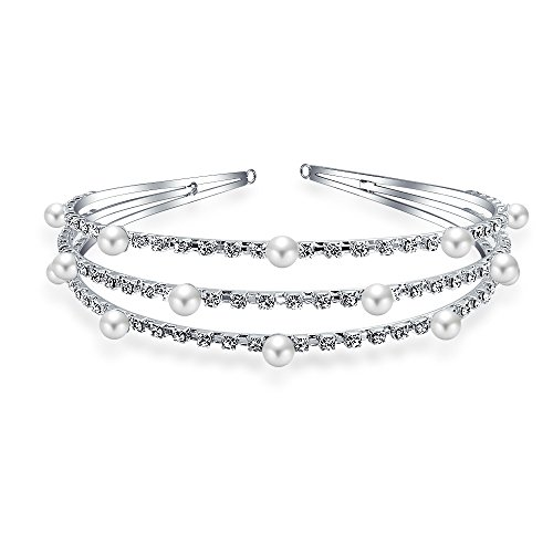 Bling Jewelry Perla simulada de strass diadema nupcial chapados en plata.