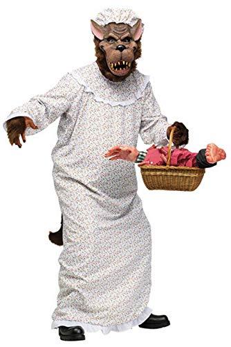 Erwachsene Herren Grosse Schlechte Oma Wolf Halloween Märchen Rotkäppchen Party Kostüm Outfit