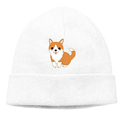 XCarmen Cute Welsh Corgi Puppy Men/Women Hip-hop Hat Beanie Knitted Cap White