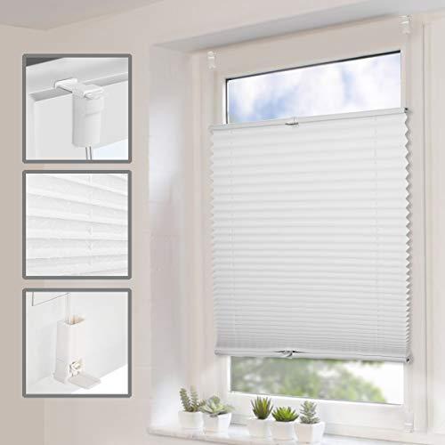 SBARTAR Plissee Klemmfix ohne Bohren Jalousien Rollo, Plisseerollo 85x130cm(BxH) Weiß mit Klemmfixträger, Faltrollo sichtschutz und Sonnenschutz, Plissee Rollo für Fenster und Tür