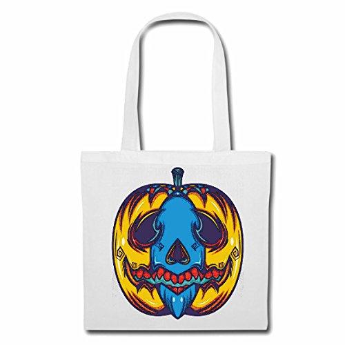 (Tasche Umhängetasche KÜRBIS Halloween Halloween Oktober KÜRBIS Walpurgisnacht FRÖHLICH TRAURIG Gothic Einkaufstasche Schulbeutel Turnbeutel in Weiß)
