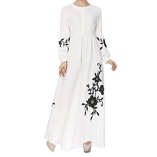 Muslimische Chiffon Langarm Kleid Elegant Stickerei Knöchellang Kleid Tunika Abaya Dubai Kleider Damen Abendkleid Hochzeit Kaftan Robe Islamische Frauen Lang Maxikleid Gewand Kleidung (Weiß, L)
