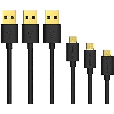 Micro USB Cables Tronsmart [3-Pack] Cable USB de velocidad alta Sync& carga para Samsung Galaxy, Huawei, HTC,Xiaomi, Motorola y otros Android