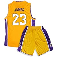 Camiseta de Baloncesto de los Lakers Lebron James Kobe Bryant Fanáticos de la NBA para niños Adultos y Adolescentes,James-Yellow,S(150-155CM)