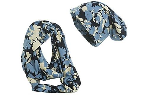 Shenky klassisches Mütze und Schal Set (Blume Blau)