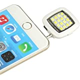 Evtech (tm) (Blanco) Mini clip portable Teléfono Móvil selfie destello de luz 16 LED parpadean Luz de relleno para el iPhone, Samsung, HTC, MI, LG, etc.
