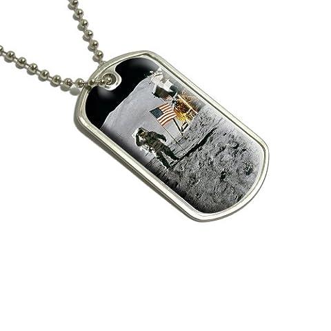 Astronaute Moon débarquement-Plaque militaire-Dog Tag Drapeau américain porte-bagage