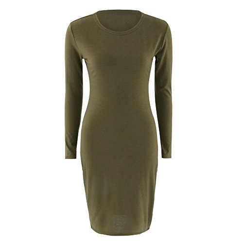 Alextry Herbst Frühling Frauen Langarm Kleid figurbetont Sexy Slim Fit O-Ausschnitt Casual Kleider, grün, Large
