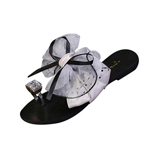 Ohq ciabatte infradito, scarpa estiva fitness sandalo tacco a punta piatta da donna con spillo pantofole spiaggia scarpe casual sandali piatti fiocco in di diamante (38, grigio)