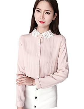 Blusa de manga larga de las mujeres encaje solapa Pink L
