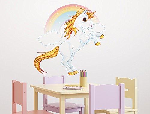 """Kinderzimmer Wandsticker Einhorn mit Glitzer, Wolken und einem Regenbogen"""" Wandtattoo Pferdemotiv zum Kleben Babyzimmer Fabelwesen Baby Wandaufkleber Märchengestalt Sticker Mädchenzimmer Wanddekor Fabeltier"""