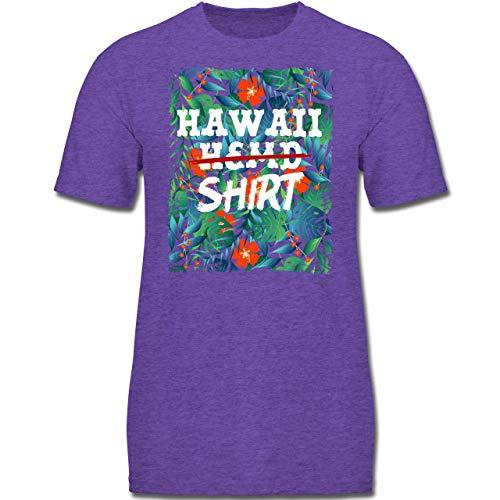 Karneval & Fasching Kinder - Hawaii Hemd Shirt - 152 (12-13 Jahre) - Lila Meliert - F130K - Jungen Kinder (Kurze Runde Kostüm Ideen)
