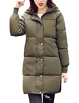 WINWINTOM Moda Mujer Casual más Grueso Invierno Slim Down Lammy Chaqueta Abrigo Nuevo Largo Outwear