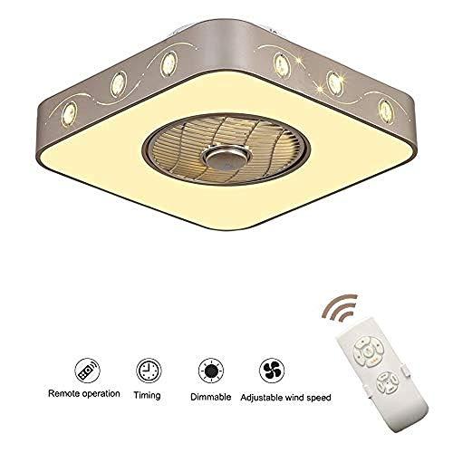 Ventiladores De Techo Con Lámpara, Ventilador Invisible Lámpara De Techo LED De 36W Control Remoto Regulable Lámpara De Ventilador Ultra Silenciosa Sala Estar Moderna Luz De Techo Del Ventilador