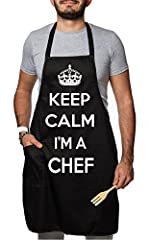 Idea Regalo - Grembiule Nero con Pettorina e Tasca: Keep Calm… I'm a Chef by tshirteria