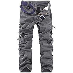 f7aa9cf8e53 AYG Pantalon Cargo Hombre Mens Cargo Pants Trousers Militar Laboral 29-40,  Gris,
