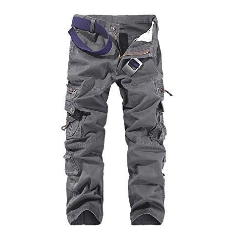 AYG Herren Cargo Hose Freizeit Baumwolle Trousers(dark grey,34)